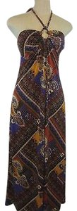 Multi-Color Maxi Dress by Other Heart Soul Maxi Halter Paisley Floral Brown Off Wht