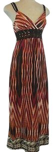 Multi-Color Maxi Dress by Other Heart Soul Maxi Spaghetti Strap Striped Burgundy Brown Black
