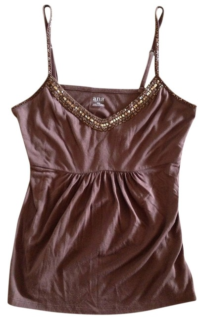 a.n.a. a new approach Top Brown with Beaded Trim