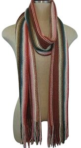 Other Ombre Long Fringe Winter Neck Scarf Wrap Colorful Stripes 84 X 9