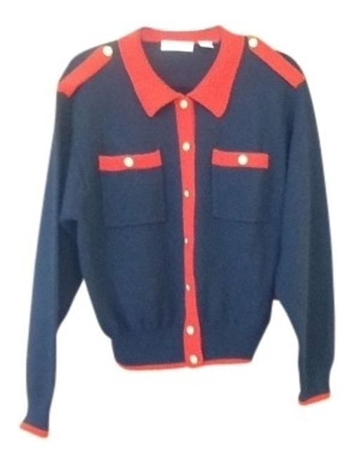 Preload https://item2.tradesy.com/images/liz-claiborne-navy-and-red-cardigan-size-12-l-117166-0-0.jpg?width=400&height=650