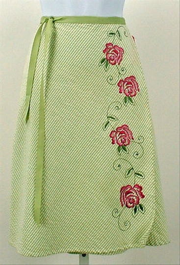 free shipping Charlotte Russe Lime White Pink Flower Embroider Detail Skirt  B204 8a0bc81ac