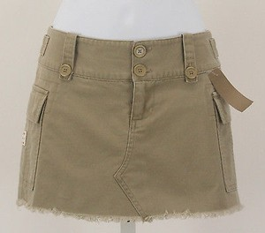 Tommy Hilfiger Jeans Tan Distressed Mini Skirt