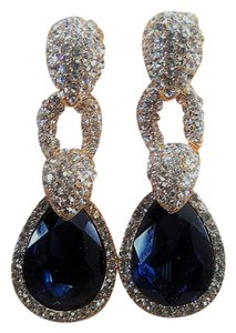 Gorgeous Bridal Wedding Sapphire Blue Gold Plated Earrings