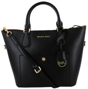 Michael Kors Greenwich Grab Shoulder Satchel in BLACK White/Gold tone