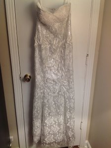 Aspeed Designs White Lace & Sequins Vintage Wedding Dress Size 4 (S)