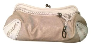 Charles David Leather Canvas Daytime Night Out Chic Braided Silver White/Canvas Clutch