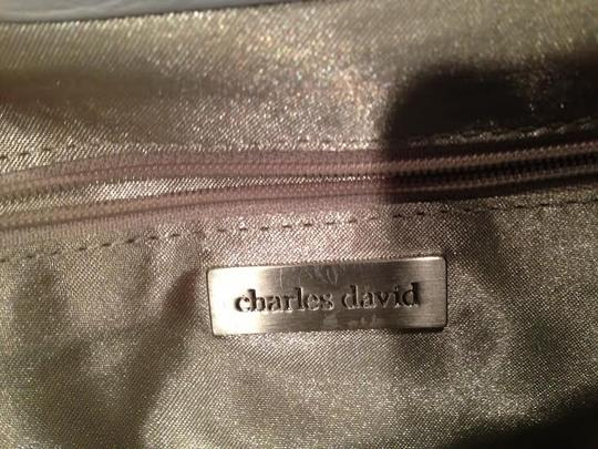 Charles David Leather Daytime Night Out Purse Chic Braided Silver White/Canvas Clutch