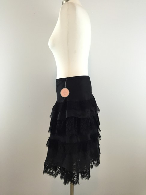 Rebecca Taylor Silk Lace Tiered Skirt Black
