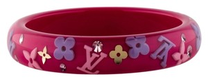 Louis Vuitton Clear, Pink, Gold LV logo floral monogram Louis Vuitton Inclusion bangle New