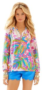 Lilly Pulitzer Silk Elsa Top summer haze
