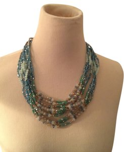 RUSH Beaded Layered Necklace, Blues/Turq.