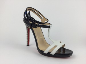 Christian Louboutin T-strap Black and White Sandals
