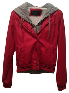 OBEY New Hood Red Leather Jacket
