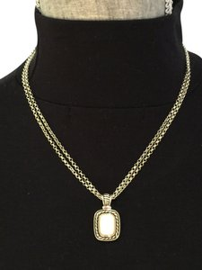 Two-Tone, Sterling Double Chain, White Pearlized Pendant