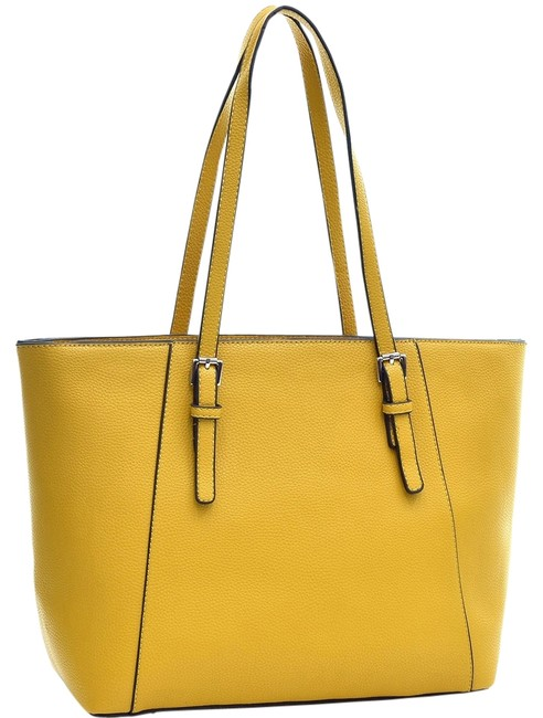 Item - Buckle Strap Yellow Faux Leather Tote