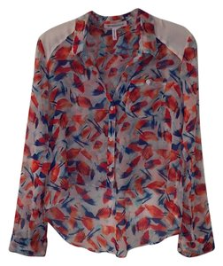 BCBGeneration Button Down Shirt Red, Orange, Blue