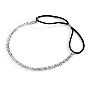 Mariell Silver 2-row Rhinestone Adjustable Stretch Headband 4136hb-s Hair Accessory