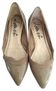 Lanvin Patent Neutral Pointed Toe Tan Taupe Flats
