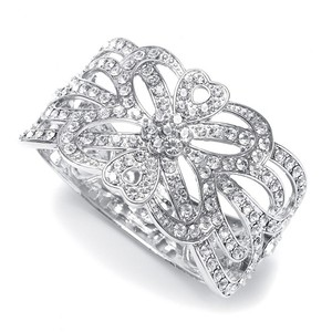 Mariell Crystal Scroll Wedding Cuff Bracelet 772b-cr