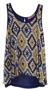 Rosebud Top Blue, Black, Yellow Aztec Print