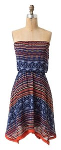 Anthropologie short dress Blue Multi Maeve Urcos Strapless New on Tradesy