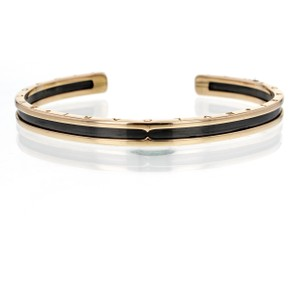 BVLGARI B.Zero1 Cuff Bracelet in Rose Gold and Black Coated Steel