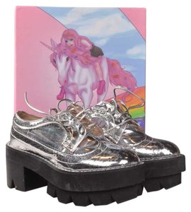 Jeffrey Campbell Leather Patent Leather Silver Platforms