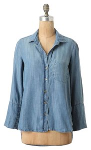 Anthropologie Elevenses Denim Button Down Shirt Chambray