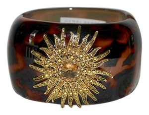 Henri Bendel HENRI BENDEL Wide Tortoise Resin CUFF Bangle Gold Topaz Starburst