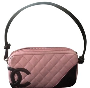Chanel Leather Quilted Monogram Satchel in Pink/black