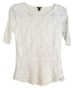 Ann Taylor Peplum Lace Top White