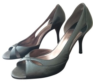 Charles David Leather Heels Peep Toe Pewter Patent Pumps