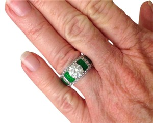 Hidalgo Hidalgo sterling silver,green enamel and diamonique ring
