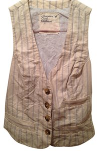American Eagle Outfitters Button Down Shirt Beige Pinstripe