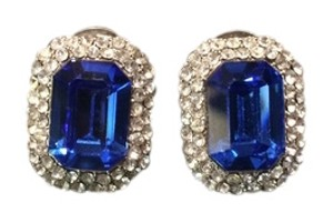 Blue Costume Emerald cut earrings for pierced ears.