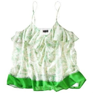 Target Webster Miami Ruffle Color-blocking Top Floral, Cream, Green