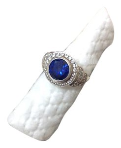 Other Blue sapphire lab created w/dimonique accents in sterling silver.
