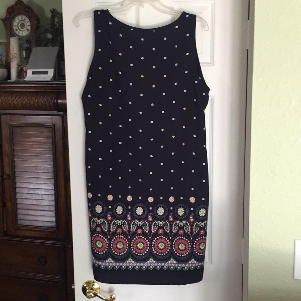 Amber Blue Navy Multi Above Knee Short Casual Dress Size 16 Ambers