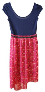 Xhilaration short dress Navy, Pink, Polkadot Target Pleated Scoopneck Blue Asymmetrical on Tradesy