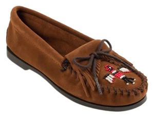 Minnetonka Thunderbird Moccasin Suede Beaded Brown Flats