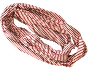 Reverse Red and Off-White Candy Stripe Infinity Scarf