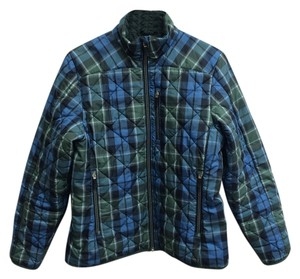 Lands' End End Quilted Small Primaloft Blue and Green Plaid Jacket