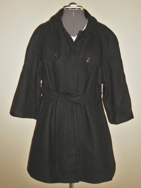 Gap Maternity NWT Gap Maternity Black Wool Blend Belted Knee Length Coat Size XL
