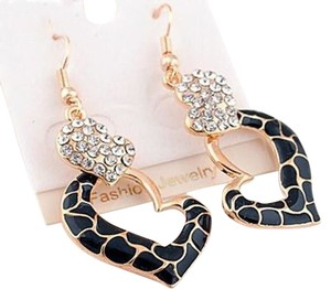 New 14K Gold Plated Crystal Heart Earrings