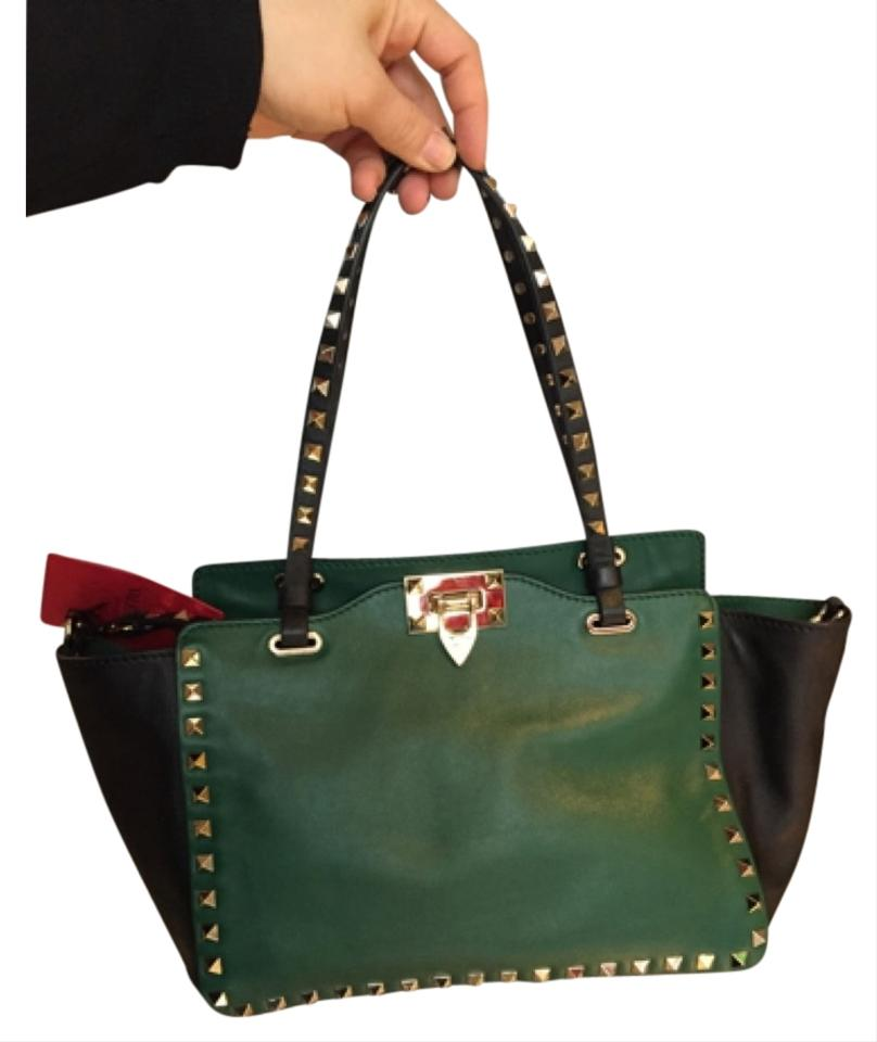 Leather Green and Valentino Tote Black q1CRRg