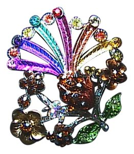 Fashion Silver Tone Multi Color Flower Brooch
