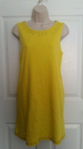 J.Crew short dress Yellow Sleeveless Embellished Shift on Tradesy