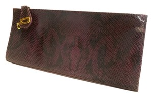 Kate Landry Snakeskin Leather Snap Closure Purple Clutch