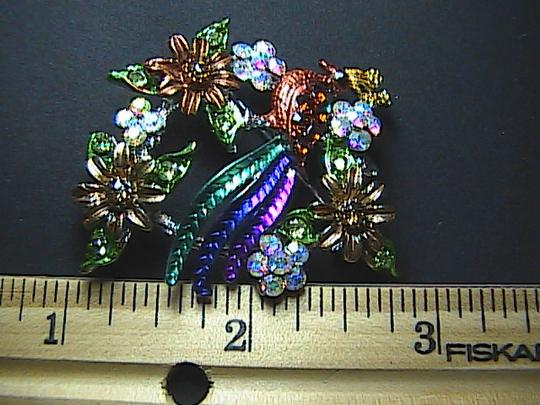 Other Fashion Multi Color Peacock Rhinestone Brooch